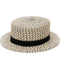 maison michel augusta panama straw canotier hat - neutrals