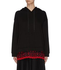 'pearl-dandy' contrast floral embroidered panel slim hem hoodie