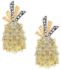 10k goldplated pineapple clip earrings