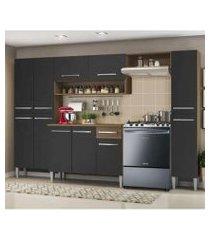 cozinha completa madesa emilly hit com armário e balcão rustic/preto/preto rustic/preto/preto