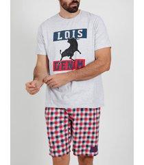 pyjama's / nachthemden admas for men pyjama kort t-shirt touchdown lois grijs admas