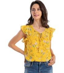 blusa floral lazo amarillo nicopoly
