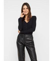 blusa pieces negro - calce ajustado