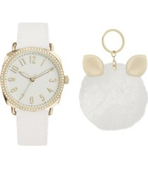 jessica carlyle women's analog white leather jeweled strap watch 38mm with cute fluff ball charm key chain cubic zirconia gift set