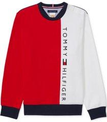 tommy hilfiger adaptive men's tuewlive colorblocked logo sweatshirt with magnetic shoulder closures