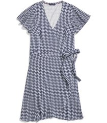 tommy hilfiger adaptive women's printed wrap dress with snap & velcro closure