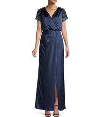 aidan mattox women's embellished-sleeve wrap-effect gown - twilight - size 2
