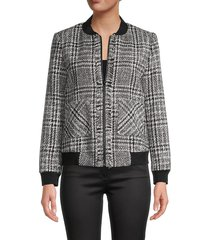 karl lagerfeld paris women's tweed bomber jacket - black white - size 14