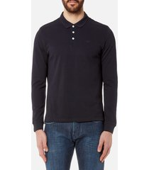emporio armani men's long sleeve polo shirt - blue scuro - l - blue