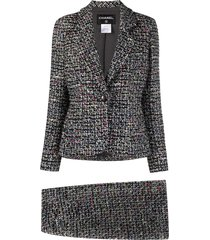 chanel pre-owned tweed two-piece skirt suit - black