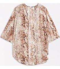 maurices plus size womens metallic snakeskin open front kimono brown