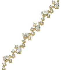 b. brilliant cubic zirconia multi-shape bracelet in 18k gold over sterling silver