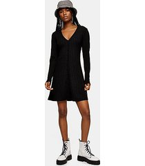 plain black cardigan flippy dress - black