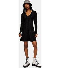 plain black cardigan flippy dress - black
