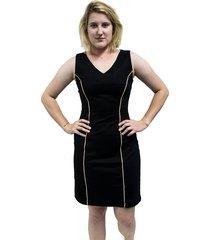 vestido bazz alfaiataria viés preto