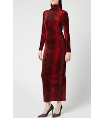 alexander wang women's turtleneck dress with logo at back - black/red - m - red