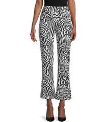 wdny women's zebra-print flared-leg pants - black white - size s