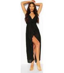 maxi strand jurk met franjes en split, zwart