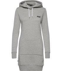 orange label sweat dress knälång klänning grå superdry