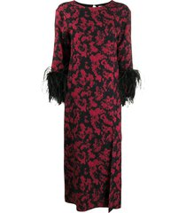16arlington billie printed feather dress - red