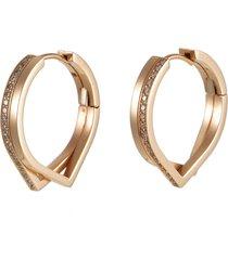 'antifer' diamond 18k rose gold double row earring