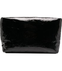 kassl editions patent leather clutch bag - black