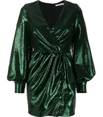 amen sequin bishop sleeve cocktail dress - green