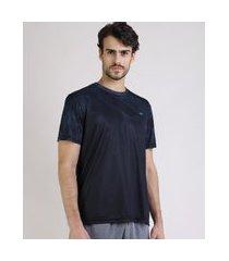 camiseta masculina ace estampada geométrica manga curta gola careca preta