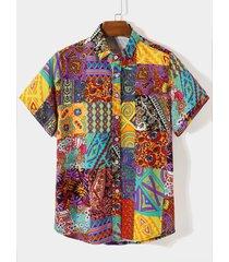hombres verano playa holiday tribal paisley print camisa
