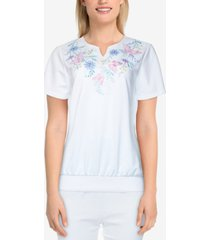 alfred dunner petite classics s1 classic butterfly-yoke top