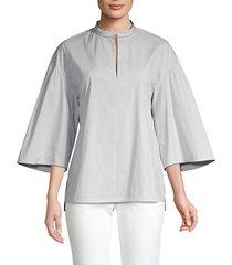 carla stripe wide-sleeve blouse