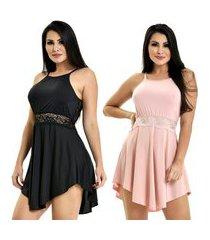 kit 2 camisola microfibra renda luxo sensual vestido preto rosê