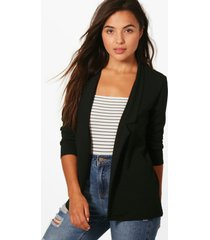 petite oversized blazer met halsinkeping, zwart