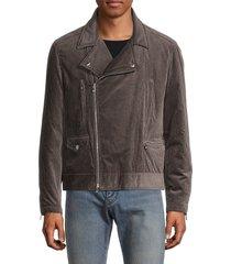 brunello cucinelli men's corduroy biker jacket - grey - size m