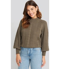 na-kd balloon sleeve cable knitted sweater - brown