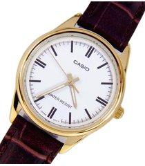 reloj casio dama ltpv 005gl-7a  calendario pulso en cuero original