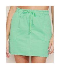 saia de moletinho feminina curta básica com bolsos e cordão verde claro