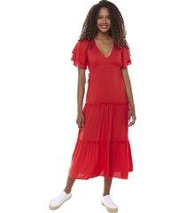 vestido largo volantes i rojo mujer corona