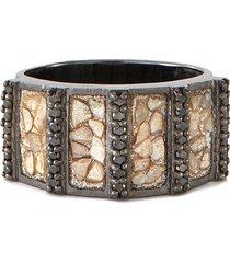 ajmer' black diamonds oxidised sterling silver resin ring