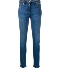valentino braided-waistband skinny jeans - blue