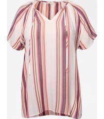 maurices plus size womens pink metallic stripe flutter sleeve top white