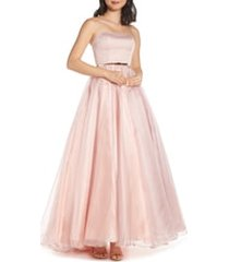 women's mac duggal strapless belted ballgown