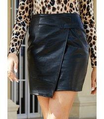 yoins black wrap diseño falda en relieve de cocodrilo de cintura alta