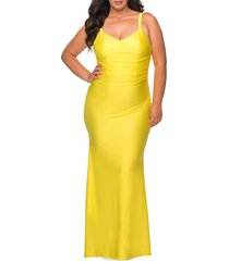 plus size women's la femme ruched satin jersey gown, size 24w - yellow