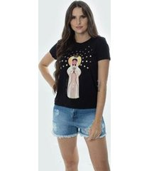 t-shirt daniela cristina gola u 07 602dc10312 preto - preto - pp - feminino