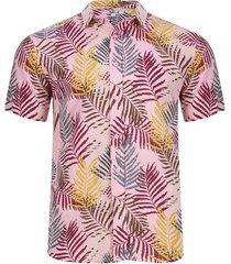 camisa estampada hojas color rosado, talla xs