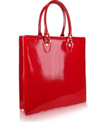 l.a.p.a. designer handbags, ruby red patent leather tote bag