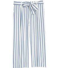 plus size women's halogen stripe tie waist wide leg pants