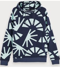 scotch & soda 100% cotton jacquard hooded sweatshirt