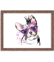 quadro decorativo bulldog princesa rosa pink madeira - grande